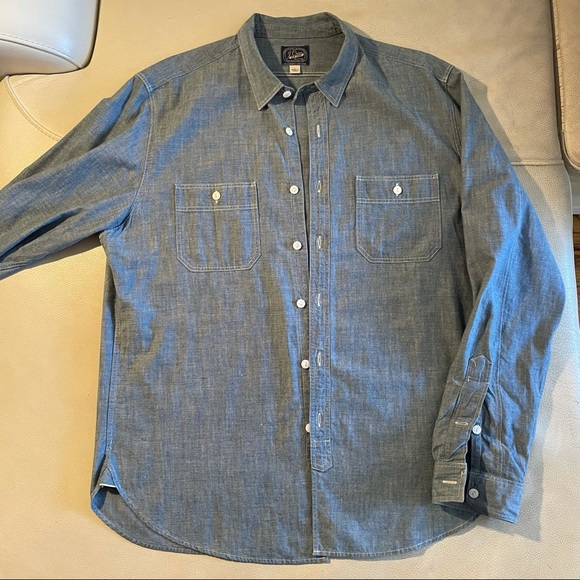 J. Crew Japanese Selvedge Chambray Men's Button-Up Classic Fit Sz Large